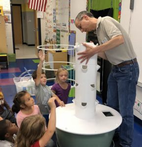 Building the Tower Garden with a kindergarten class.
