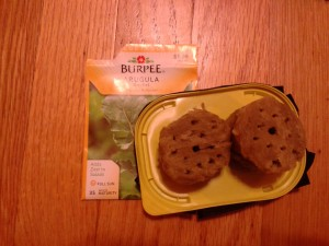 I poked about 13 holes in each rockwool and planted 2 Burpee arugula seeds in each hole.